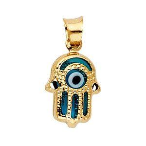 14K Yellow Gold  Evil Eye Hamsa Pendant